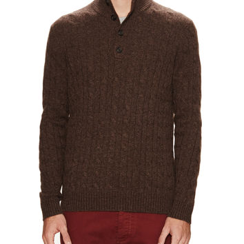 Dartmoor Men's Cashmere Cable knit Button Mock Neck Sweater - Brown