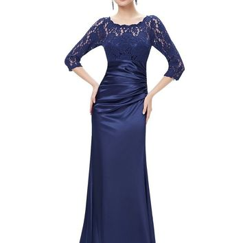 Evening Dresses Ever Pretty HE09882 Autumn Style Elegant 3/4 Sleeve Lace Women Long Formal Party 2017 Evening Dresses