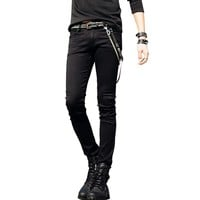 Mens Slim Fit Jeans Super Skinny Pants With Chains