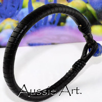 AB-007 Finely Handmade Lapiz Lazuli Kangaroo Leather New ANKLET Men Bracelet