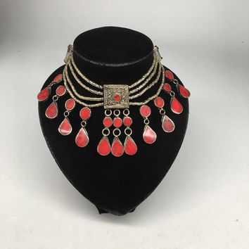 Antique Afghan Ethnic Turkmen Kuchi Choker Tribal Red Coral Inlay Necklace
