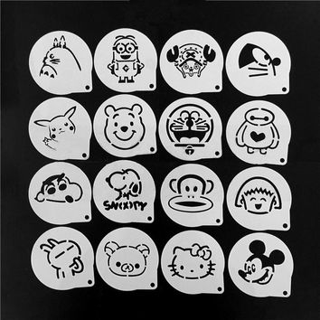 16Pcs/Set Cartoon Bear Latte Coffee Stencils Hello Kitty Cake Mold Fondant Cookies Baking Tools Art DIY Tools D08