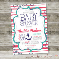 "Anchors Away! Nautical Seaside Anchors and Stripes Baby Shower DIY Printable Invitation in Blues, Reds and Greens Baby Shower - 5"" x 7"""