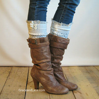 The Lacey Lou - Off White Open-work Leg Warmers with knit lace trim & buttons - Legwarmers boot socks (item no. 3-16)