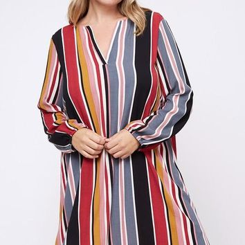 Georgia Striped Pink Dress | Plus