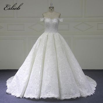Amazing Beaded Ball Gown Special Lace Wedding Dress Bridal Gown Court Tail Off the Shoulder Zipper Novia de Robe