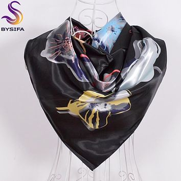 Women Men Black Silk Scarf Shawl New Design Spring Autumn Accessories Ladies Genius Flowers Satin Scarves Wraps 90x90cm