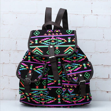 Lightweight Ethnic Daypack Tribal Aztec Canvas Casual Backpack Travel Bag