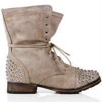 Taupe Lace Up Studded Combat Boots