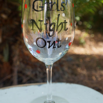 Girls' Night In and Out Red and Black Wine Glass -  Hand Painted Wine Glass