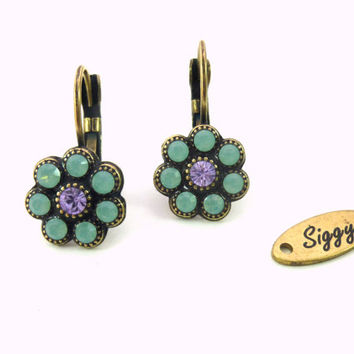 Pacific opal and violet Swarovski daisy earrings, multi-stone flower, antique brass setting, Siggy bling