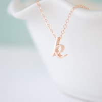 Personalized Rose Gold Cursive Initial Necklace