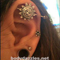 Cute Sun Industrial Barbell 14ga Body Jewelry Ear Jewelry Double Piercing 316L Surgical Stainless Steel