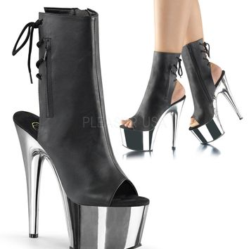 Black Faux Leather Ankle High Stripper Boot 7 Inch Heel Chrome Platform