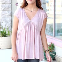 Acid Wash T-Back Blouse {Dusty Rose}