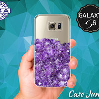 Purple Amethyst Gemstone Gem Cute Tumblr Inspired Transparent Case Clear Rubber for Samsung Galaxy S6 Galaxy S6 Edge Galaxy S7 and S7 Edge