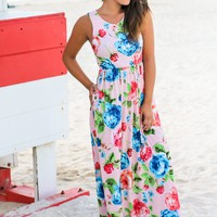 Blush and Red Floral Sleeveless Maxi Dress