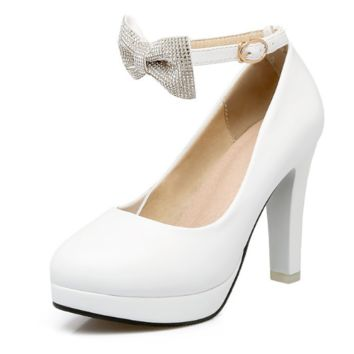 Women High Heels Shoes Ankle Straps Bow Platform Pumps 9897