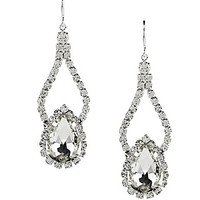 Cezanne Pear Shape Double Drop Earrings - Silver/Crystal