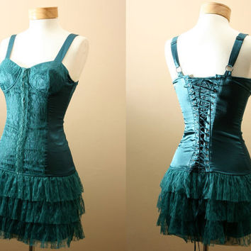 Last one // Ultimate Statement and Party Dress, Corset, Bodice Style Top, Ruffles with Lace