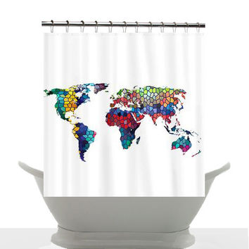 Artistic Map Shower Curtain - Colorful World Map - Home Decor - Bathroom - maps