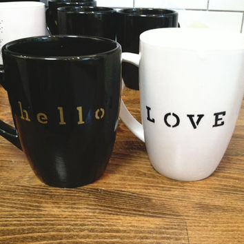 custom stencil mug / coffee cup , quote mug , personalized mug