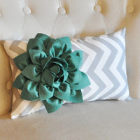 Chevron Lumbar Pillow with Teal Dahlia Flower on Gray and White Zig Zag Lumbar Pillow 9 x 16 -NEW FLOWER COLOR-