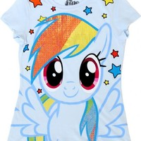 My Little Pony Friendship Is Magic Rainbow Dash Sparkle Hair Juniors Light Blue T-shirt