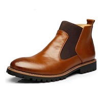 Men's Chelsea Ankle Boots,British Style ,Black/Brown/Red Brogues
