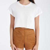 Roll Cuff Boxy Crop Tee | Wet Seal
