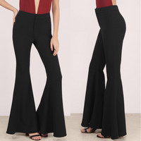 2017 Women Ladies Fashion Elgant Vintage High Waist Bodycon Slim Fit Flare Bell Bottom Pants Casual Office Work Summer Trousers