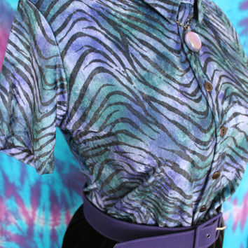90s Velour zebra print shirt - shimmer blue and green marble button up