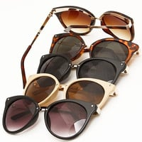 Retro Cat Eye Sunglasses - Tortoise, Nude, Black/Black or Black/Brown