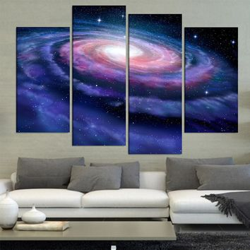 4 Pcs/Set Large Abstract Spiral Milky Eay Galax Canvas Print Painting Modern Still Life Galax Wall Art Picture Home Decor
