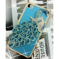1x Luxury Designer Blue Bling Crystal Case Handmade Peacock for Apple Iphone 4 and 4s [Limited Edition]