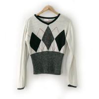 Vintage Sweater ~ Size Medium ~ Black, Cream, White, Red Argyle Diamond Sweater ~ By Villager: A Liz Claiborne Co.