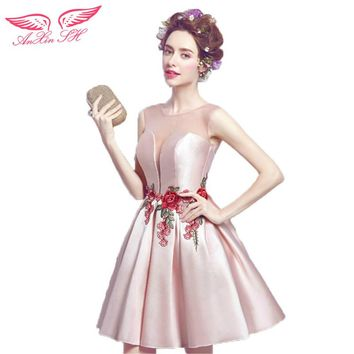 AnXin SH Pink rose embroidery Cocktail Dresses sexy perspective short paragraph bride Princess Cocktail Dresses 2468