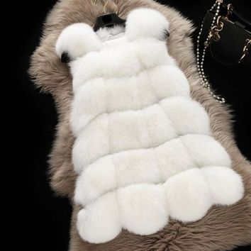 Faux Fur Warm Women Coat Vests Winter Fashion furs Women's Coats Jacket Veste 3XLHigh quality Fur Vest coat  2980