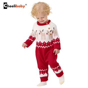 Winter Christmas Baby Girls Rompers Knitted Baby Clothes Funny Animal Reindeer Toddler Boys Jumpsuits New Year's Newborn Costume