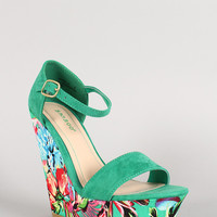 Bamboo Faux Suede Floral Open Toe Platform Wedges