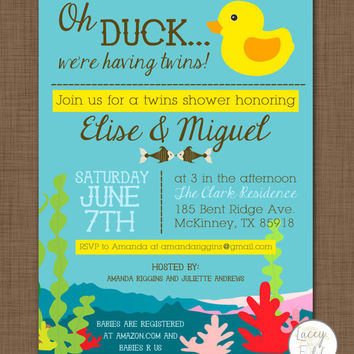 Twins baby shower invitation- oh duck we're having twins- funny baby shower invitation- duck invitation- underwater party