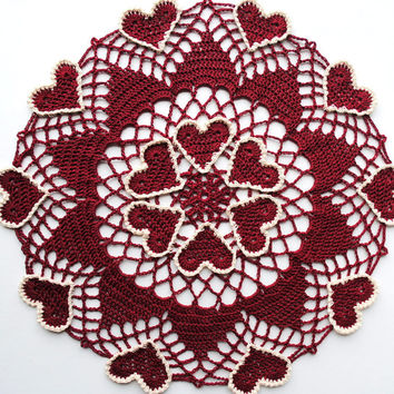 Crochet Valentine's Day doily, burgundy doily with hearts outlined in ecru,  heart doily