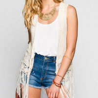 Dolled Up Drop Stitch Fringe Womens Vest Cream  In Sizes