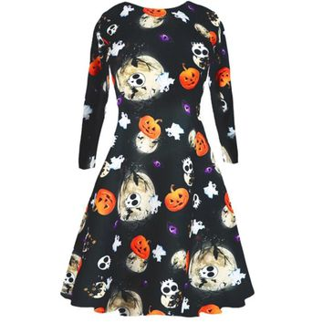 fa2729092e47 Ladies Womens Halloween Costume Swing Skater Pumpkin Skeleton El