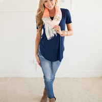 Basic Slouchy Tee Navy CLEARANCE