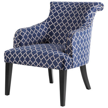 Luxury Home Alexis Rollback Accent Chair - Dark Blue/Navy