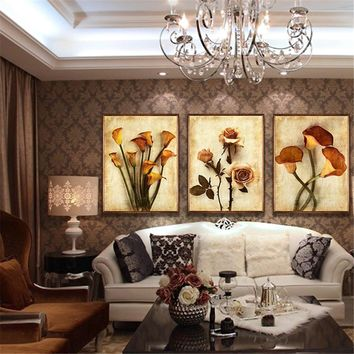Canvas HD Prints Paintings Wall Art Living Room Home Decor 3 Pieces Roses And Calla Lily Flowers Pictures Retro Poster Framework