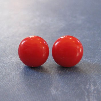 Light Red Earrings, Hypoallergenic Pierced Stud Earrings,  Hand Made Etsy Fashion Jewelry - Gable -  2384  -4