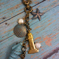 Beach Bag Charm Purse Pull, Ocean Theme Purse Charm, Beach Lover Gift, Lighthouse Charm, Starfish Charm, Seashell Bag Charm Wear as Necklace