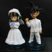 LOT OF 2 DragonBall Z BZD Groom GOKU and Wedding Bride CHI-CHI FIGURE box set 3""